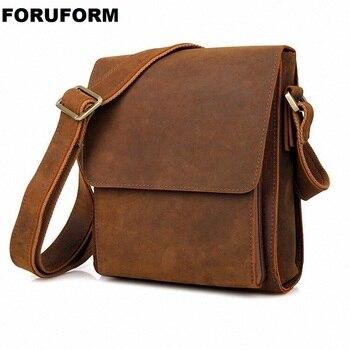 New Fashion Crazy Horse Genuine Leather Multifunction Male Casual Messenger Bag Satchel Cowhide Cross-body Shoulder Bag LI-2533