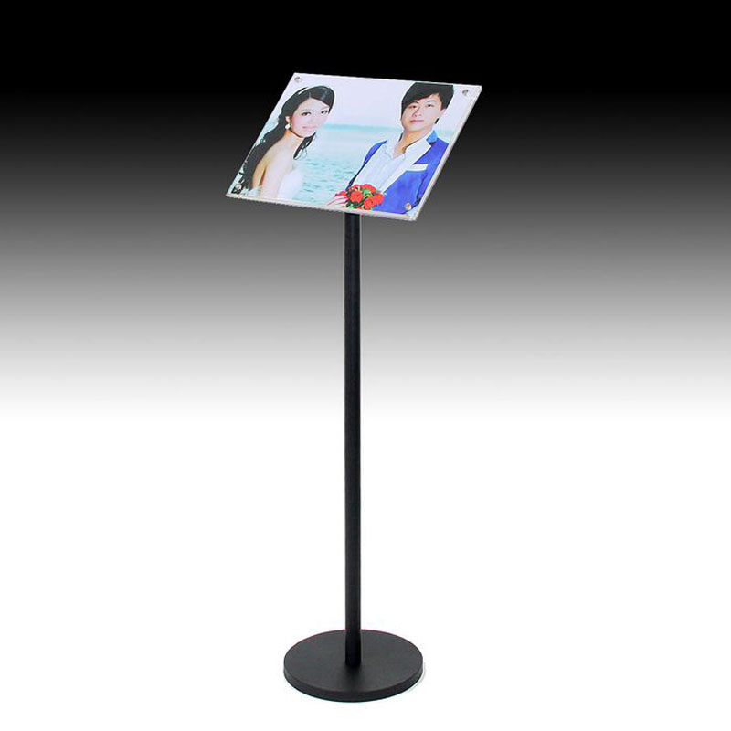 A4 Floor Poster Stand Metal Pedestal Sign Display Holder Floor Banner Stand With Clear Acrylic Photo Frames Hotel Signage Rack