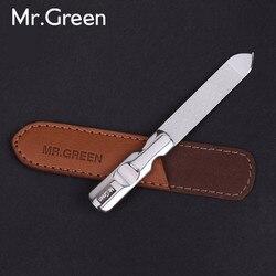 MR. GREEN الفولاذ المقاوم للصدأ ملف الأظافر المعدنية العازلة المهنية المشكل مانيكير أدوات تلميع الشريط الرملي مع حافظة جلدية