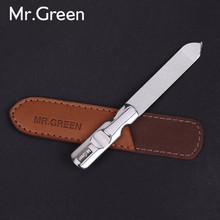 MR.GREEN stainless steel metal nail file buffer professional shaper manicure tools polishing strip sanding with leather case