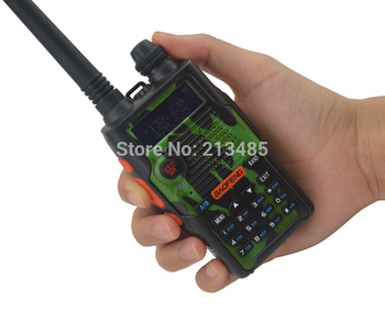 Color Camouflage BF-E500S 136-174MHz&UHF400-520MHz Dual Band 5W/1W 128CH FM 65-108MHz with Free Earphone Portable Two-way Radio