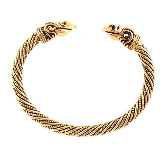 Handmade Mens Raven Solid Head Twisted Wire Bangle Bracelet Vikings ...