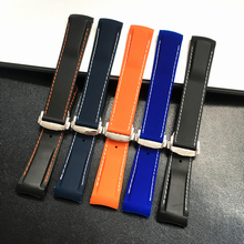 Extremo curvado, 20mm, 22mm, negro, azul y naranja con puntadas, Bandas de silicona para reloj Omega Seamaster 300, pulsera de correa oceánica