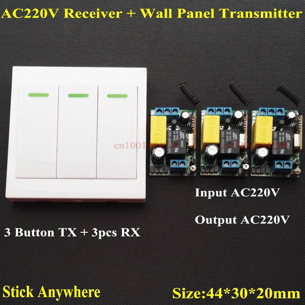 AC 220V 3 Way Channel Remote Control Switch + Wall Panel Wall Transmitter Remote Home Room Stairway Light Lamp Bulb LED RX TX light one channel control switch for smart home ceiling led bulb remote control wireless wall light switch