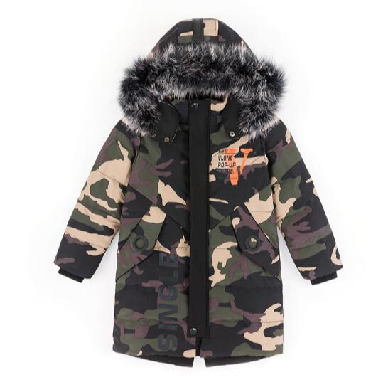 Camouflage 2018 Children's Down Jacket Long Thick Boy Winter Coat Duck Down Kids Winter Jackets for Boy Outerwear Fur Collar цены