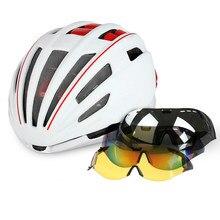 4681f9b0ef Casco de bicicleta con lente gafas ciclismo casco de montaña MTB bici del  camino cascos de
