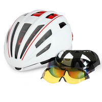 Bicycle Helmet With Lens Goggles Cycling Helmet Insect Net Mountain MTB Road Bike Cycling Helmets 2017