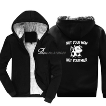 f33a0b102313 New Not Your Mom Not Your Milk Funny Hoodies Men Cow Animal Print  Sweatshirts Male Cotton