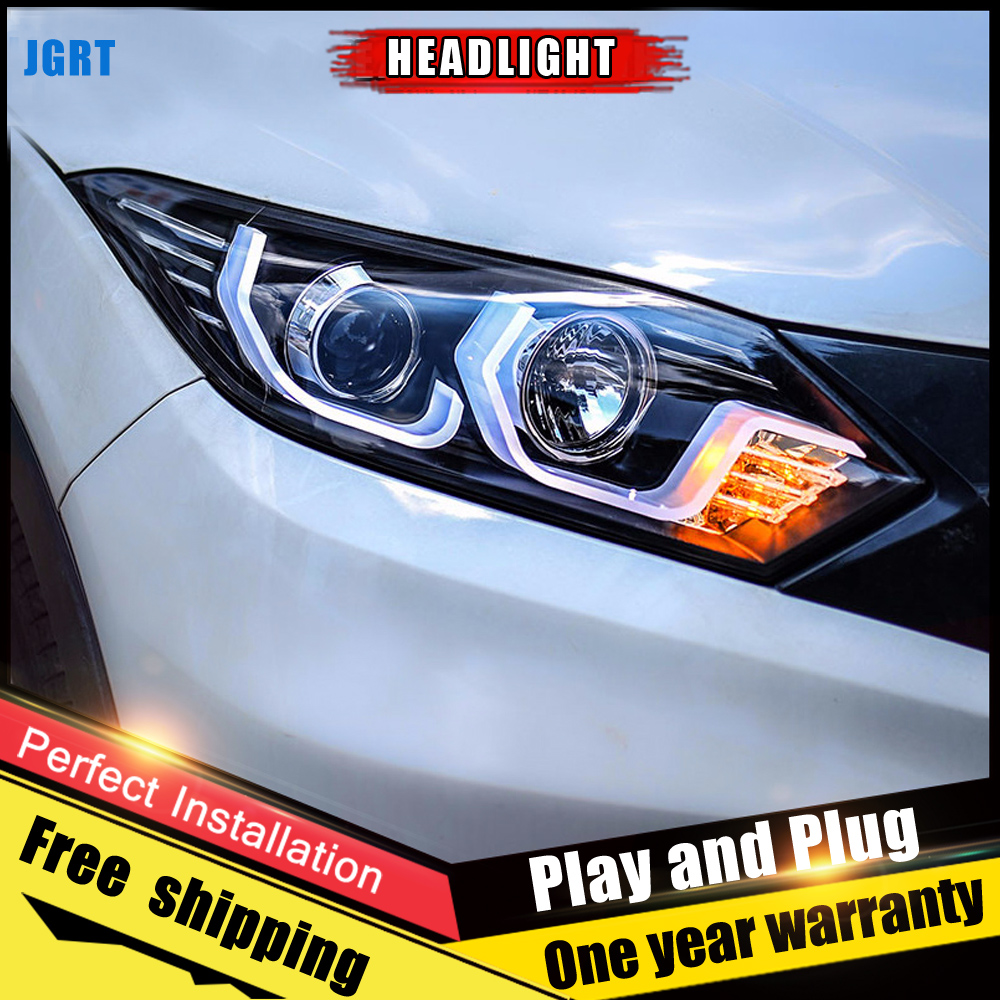 2PCS Car Style LED headlights for Honda VEZEL 2015 2016 for VEZEL head lamp LED Lens