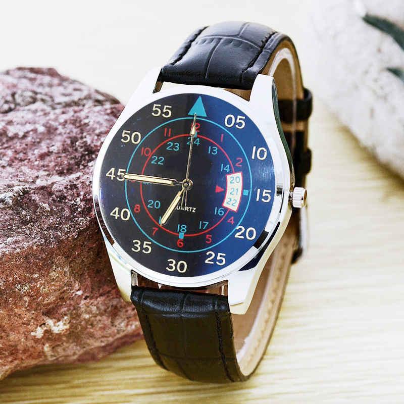 Luksusowy mężczyzna biznes zegarek kwarcowy kobiety niebieski Ray lustro zegarek z paskiem skórzanym