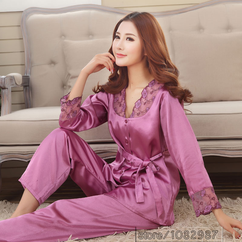 Thoshine Brand Spring Summer Autumn Silk Women Pajamas Sets of Sleepcoat & Sleep Shorts Lady Nightdress Female Home Clothes