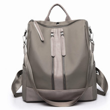 2019 Female Oxford Pu Splice Backpacks Cloth Double Zip Simple Fashion Hand Bags Korea New Style Softback Travel Shoulder Bag