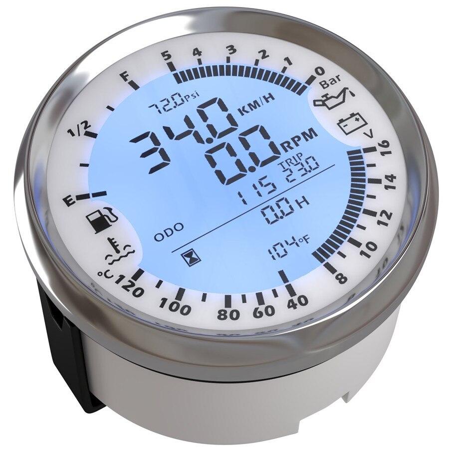 85mm GPS compteur de vitesse Tachymètre Pression D'huile D'eau Temp Voltmètre Carburant niveau D'odomètre 6 dans 1 Multi-fonctionnelle pour auto Bateau