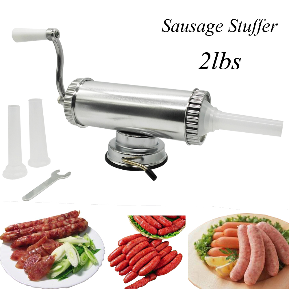2lbs Horizontal Manual Type Meat Sausage Stuffer making Machine Sausage Filler Salami Maker Fix Suction Filling