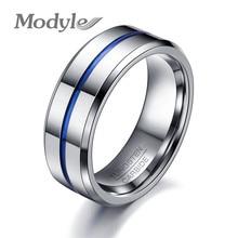 Modyle 2017 Fashion Thin Blue Line Tungsten Ring Wedding Brand 8MM Tungsten Carbide Rings for Men Jewelry