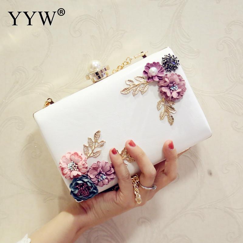 YYW 2018 High Quality Women Handbags Flowers Evening Bags Mini Wedding Dinner Bags Luxury Clutch Purse Ladies Chain Shoulder Bag
