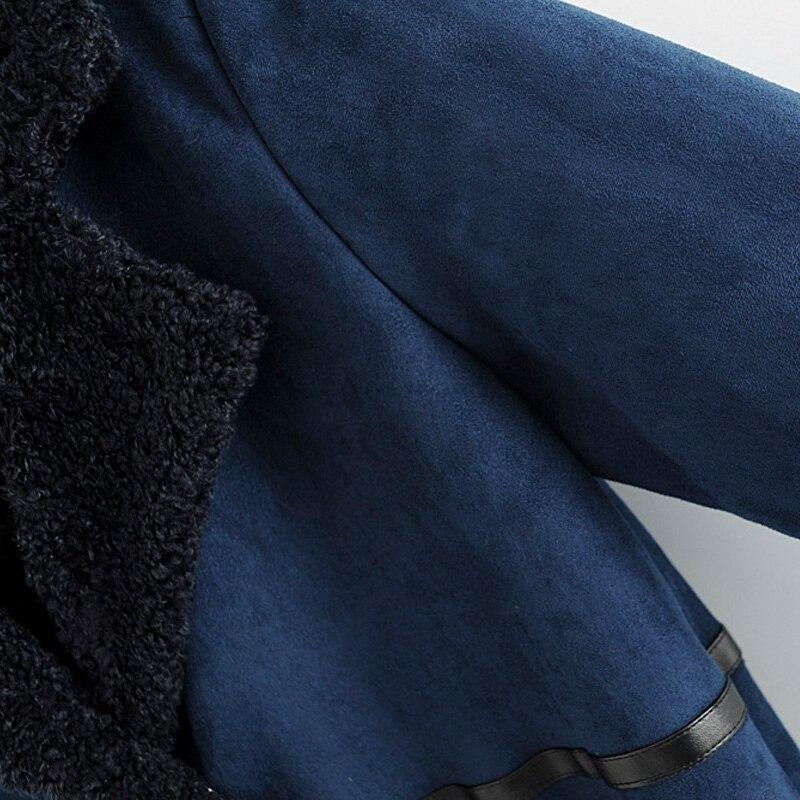 Long Loisirs Manteau Solide 2017 Automne Couleur Décoration Bleu Marine Femelle Poche wRqx8T