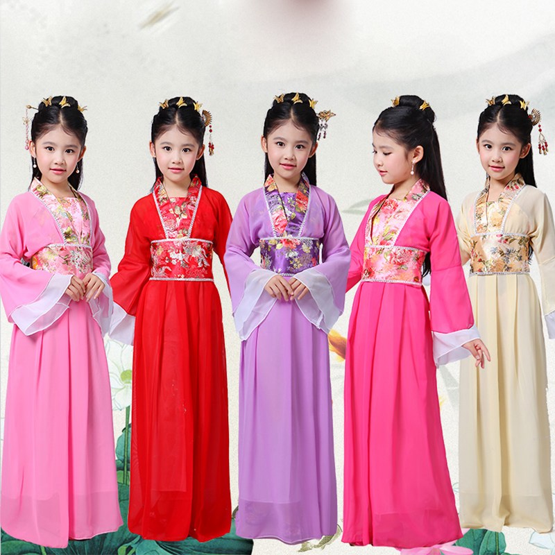 Traditional Chinese Dance Costumes For Girls Opera Children Ancient Fairy Han Tang Dynasty Qing Hanfu Dress Chinese Suit DN2573