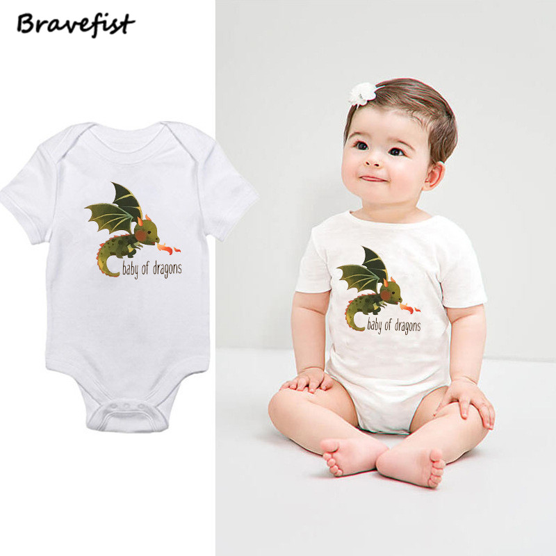 Lovely Newborn Bodysuits Cotton Short Sleeve Baby Boys Girls Summer Clothing Infant Jumpsuits Baby Of Dragons Letters Outfits