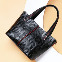 Leather handbags new European and American fashion portable tote bag ladies bag letters wild Messenger bag shoulder bag