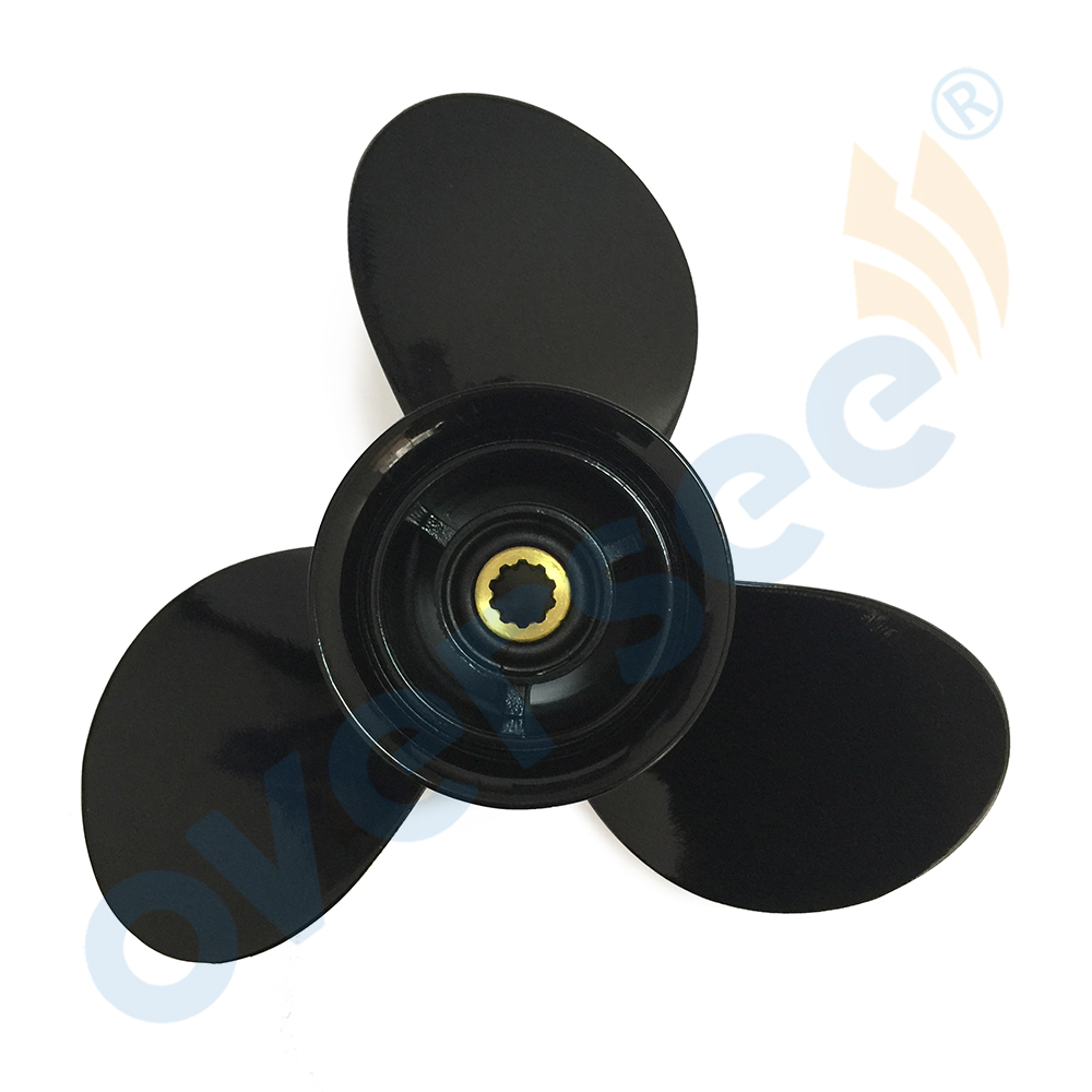 OVERSEE Aluminum Propeller 58100-93743-019 3X9 1/4X11 Black 9.9, 15 HP For SUZUKI Outboard Engine new outboard propeller 58100 88l31 019 size 11 5 8 x 12 12p df40a 50a 6 for suzuki marine outboard engine motor