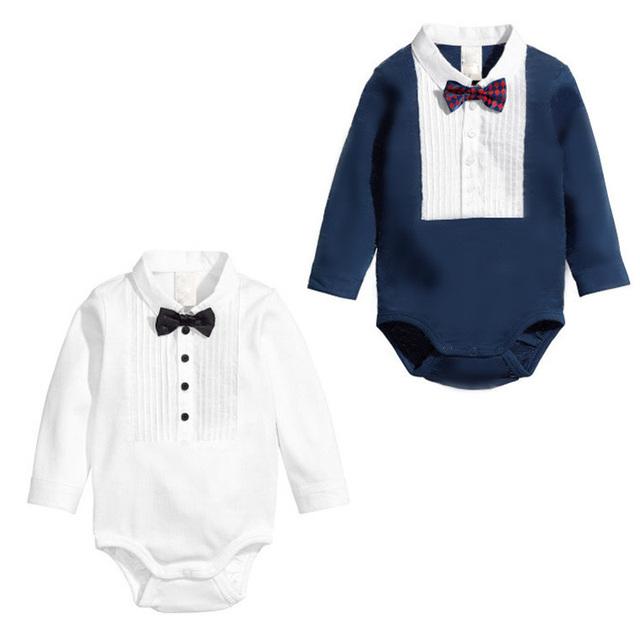 Nova moda meninas e meninos de algodão ternos do corpo do bebê recém-nascido infantil crianças laço de fita macacão para bebês