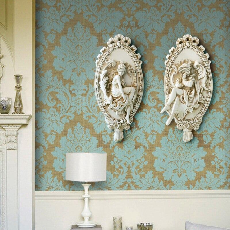 Vintage Hars Sculptuur Engel Standbeeld Ornamenten Muur Opknoping - Huisdecoratie