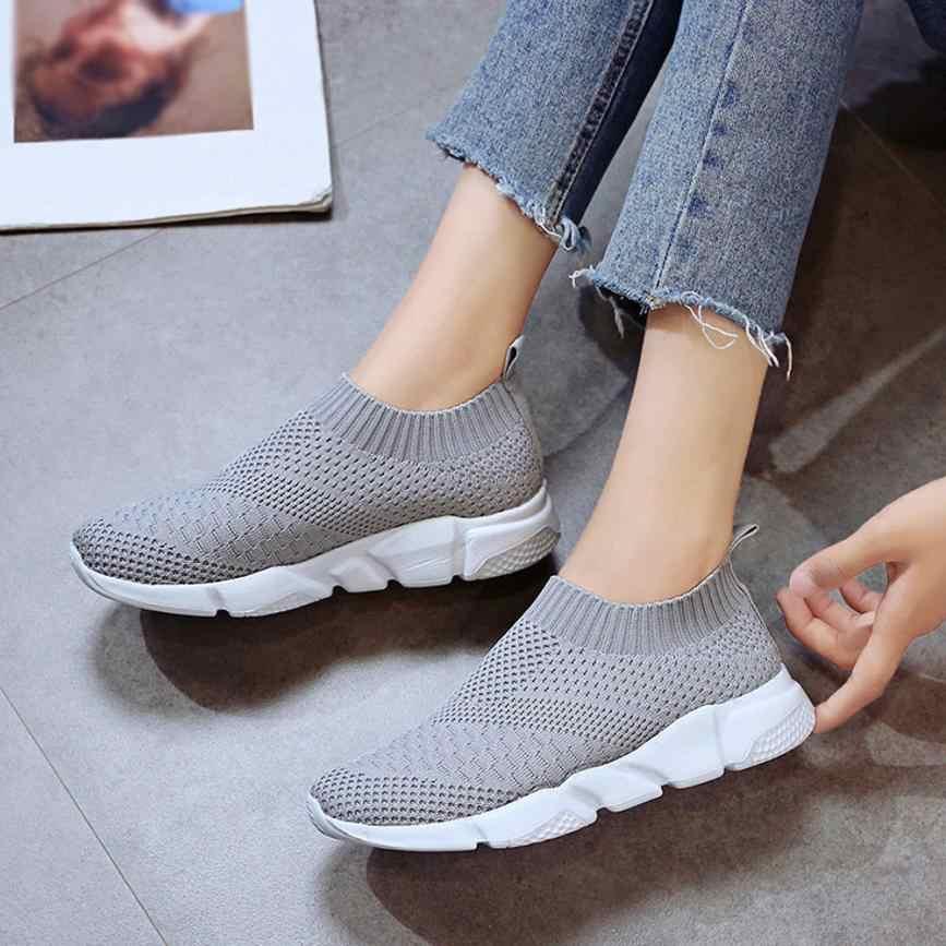 ウォーキングシューズ女性屋外メッシュカジュアル通気性快適な靴底ジョギングスポーツ靴下靴ドロップシッピング女性スニーカー