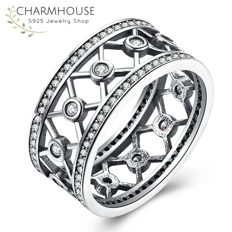 Genuine Sterling Silver Rings for Women Men AAA Cubic Zirconia Ring Antique Silver Jewelry Fashion Accessories Anillos Bijoux