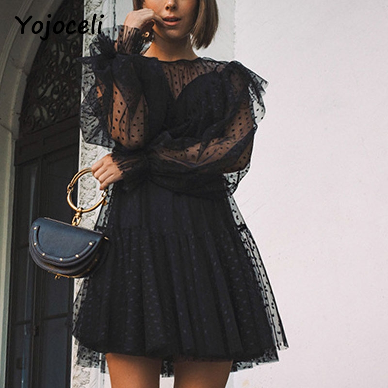 Yojoceli sexy party club black mesh lace dress women dot ruffled two pieces set dress 2018 female vestidos