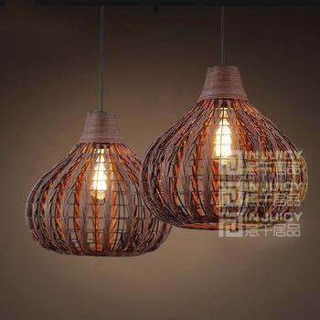 Vintage Rural LED Weave Rattan Bird Nest Light Ceiling Lamp Droplight Fixtures Chandeliers Bar Home Bedroom Corridor Loft Decor