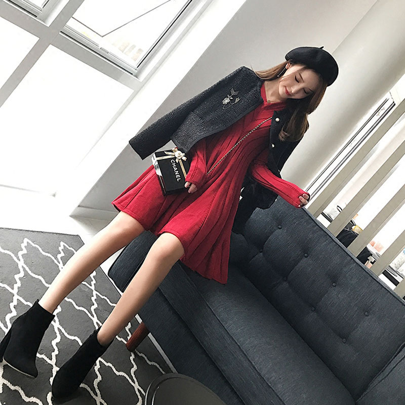 De Bas Robe Femmes Maigre 2018 Tricoté Chandail Chemise D'hiver Graisse Couverture Vêtements Sœur Taille Mm Grande Nouveau qfawgECq