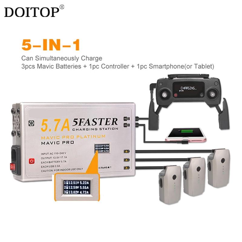Doitop быстро Зарядное устройство для dji Мавик <font><b>Pro</b></font> Platinum 5 в 1 2 USB OLED Дисплей Drone несколько Порты 5.7a интеллектуальные зарядное устройство
