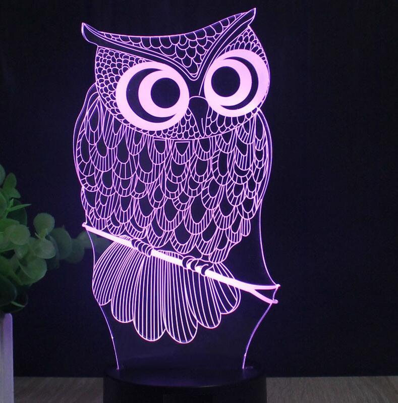 Laser Engraved Acrylic Colorful Gradient Atmosphere Bird Lamp 3D Illusion Owl Lamp Color Changing Touch Light USB Novelty Lights