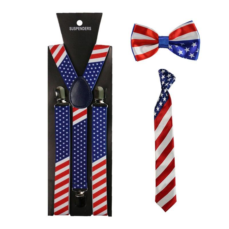 Winfox Fashion America Flag Pattern Suspender For Women Men Star Braces Bowtie Necktie Set