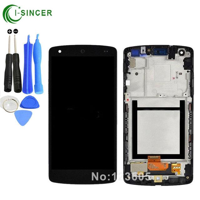 Para lg google nexus 5 d820 d821 lcd screen display toque digitador assembléia com moldura preta-ferramentas, frete grátis
