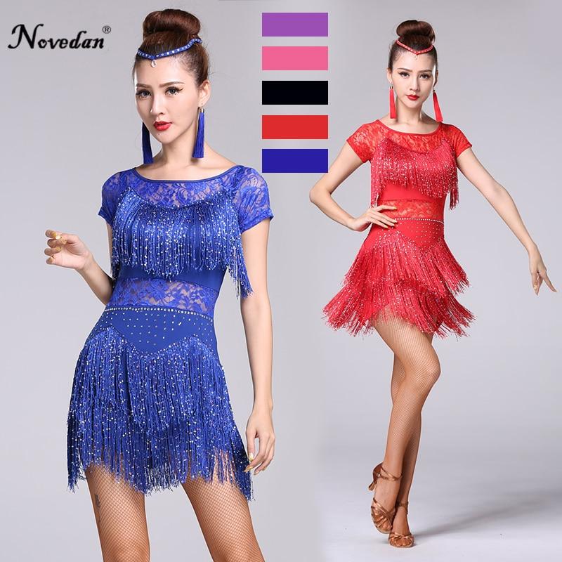 Red Latin Dance Costumes Women Salsa Dancewear Dance Costume Dresses Ballroom Competition Dresses Tango Adult Fringe Sequin