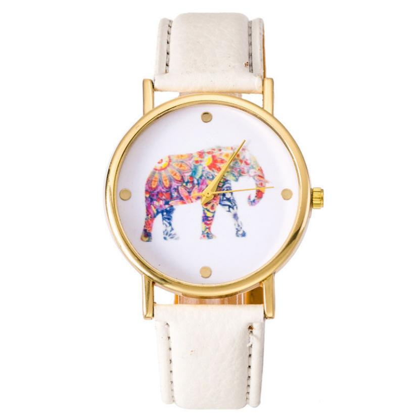 New Fashion  Watches Women Ladies Elephant Pattern Leather Band Quartz Wrist Watch Female Clock Montre Femme Relogio Feminino #D
