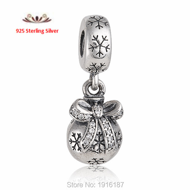 2015 New Christmas Snowball Dangle Charms Pendant 925 Sterling Silver Pave Zircon Bowknot Xmas Charms Fits Snake Bracelets