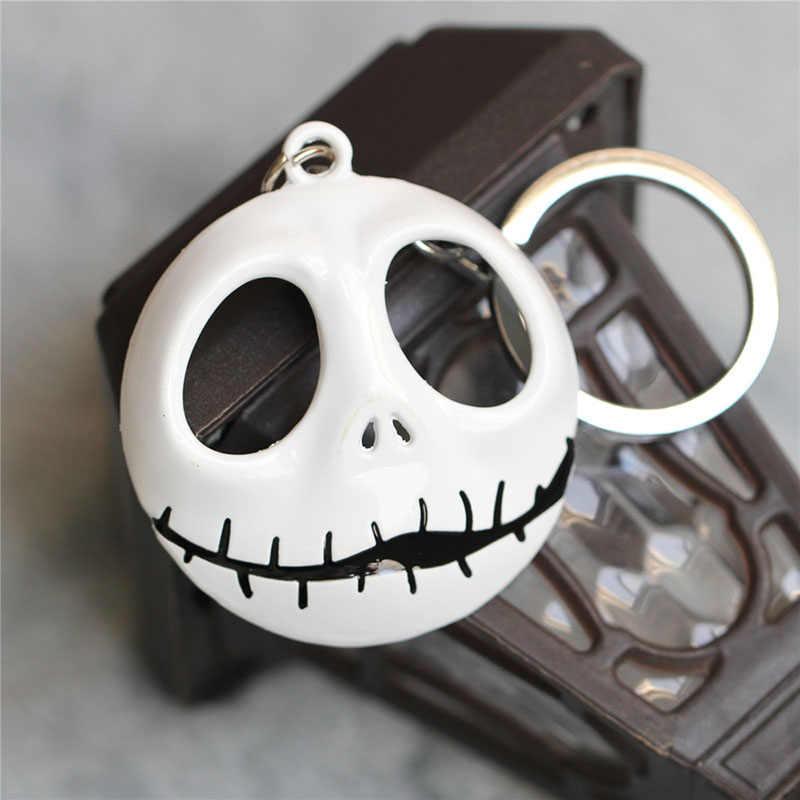 La pesadilla antes de Navidad llavero Jack Skellington llavero colgador máscara la cabeza brilló en la llave de figura oscura cadena