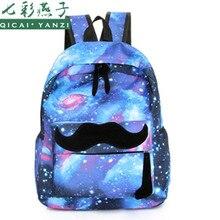 QICAI. YANZI Mujeres Estrellas Bigote Universo Espacio Impresión de la Lona Mochila mochila Escolar de las Niñas Mochilas Portátiles Mochila N829