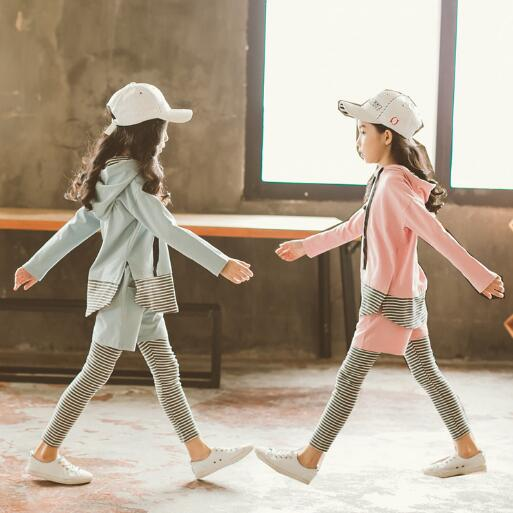Girls Clothing Sets 2018 Autumn Children Long Sleeve Sports Suits Teenage Girl Striped Patchwork Hooded Outfits Kids Clothes long sleeve children s sports suits boys clothing set camouflage child tracksuit clothes sets for teenage
