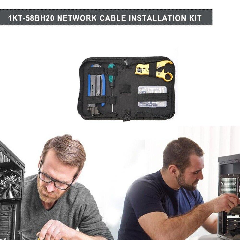 Kit d'outils réseau multi-fonction LAN outils d'installation réseau testeur de câble pince à sertir ensemble de sac à outils - 3
