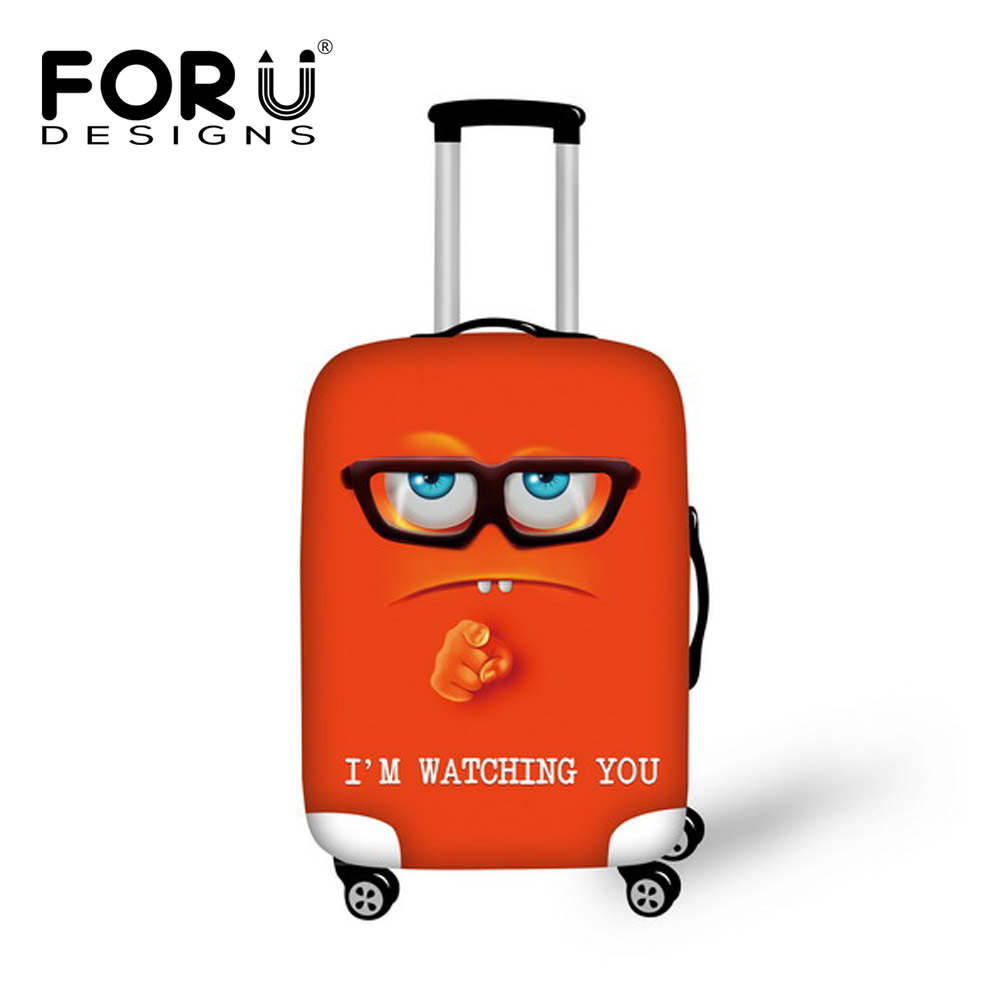 FORUDESIGNS Funny 3D Emoji Print Protective Baggage Cover For 18-30 Inch Suitcase Elastic Waterproof Travel Luggage Cases Covers