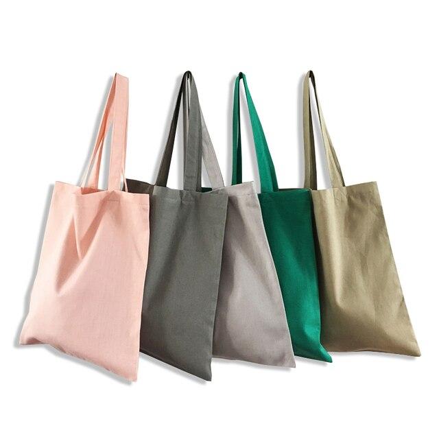 2018 Handmade Canvas Women Open Pocket Handbag Lady Single Shoulder Bag Large Simple Shopping Handbags Student Hands Bags