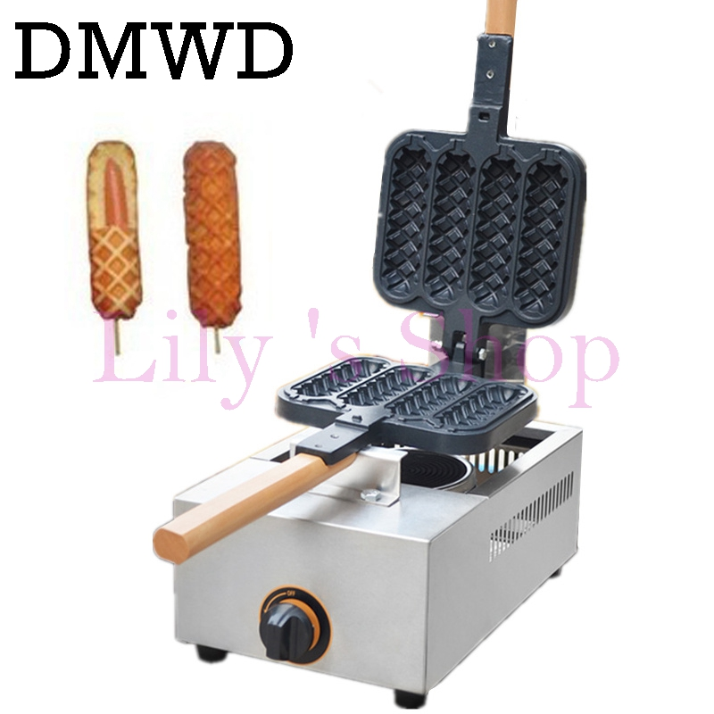 Commercial gas French Hot Dog Lolly Waffle Maker 4 pcs non-stick corn hot dog waffle baking Machine Baker Iron new high quality stainless steel commercial corn dog waffle maker lolly waffle maker machine for sale
