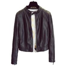 Spring Slim Fit Women Faux Leather Coats Free Shipping Women Motorcycle Leather Coat Designer Slim Short Autos Jacket Lady C854