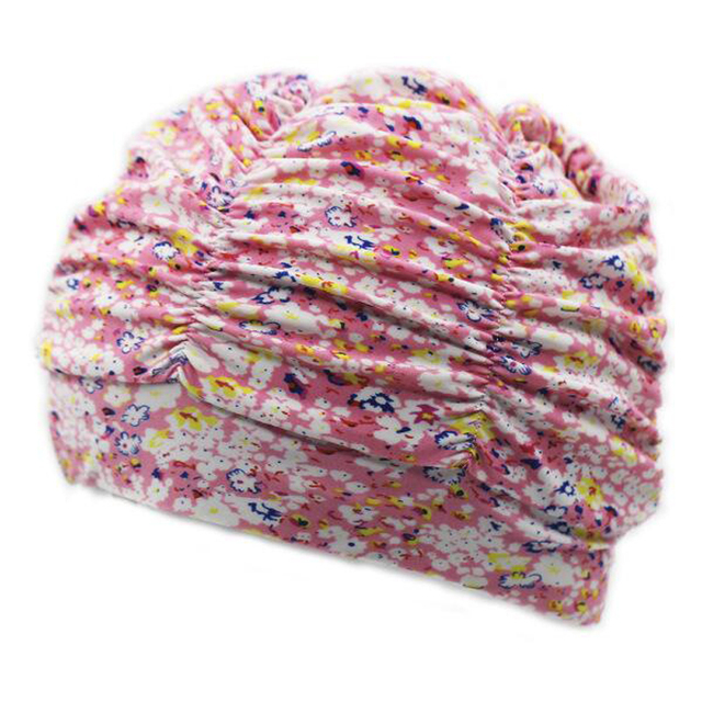 Women's Pleated Flowery Fabric Swimming Cap