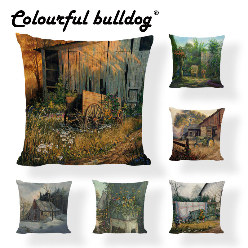 Peachy Us 2 89 21 Off Classical Oil Painting Cushion Covers Country Style Flower Printed Home Decor Garden Gaming Chair Comfortable Throw Pillow Cases In Uwap Interior Chair Design Uwaporg