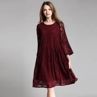 Women Plus Size Lace Dress Summer Flare Three Quarter Sleeve Loose Oversize Midi Dresses Big Size